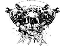 Pistole del cranio due e coltelli attraversati Fotografia Stock