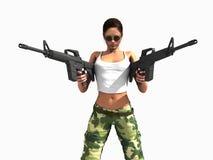 Pistole della holding della donna del soldato Immagini Stock
