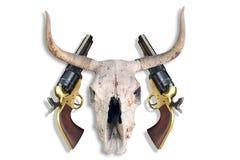 Pistole e cranio antichi della mucca Fotografie Stock Libere da Diritti