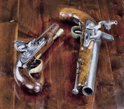 Pistole inglesi del Flintlock Fotografia Stock