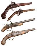 Pistole isolate dell'arma da fuoco dell'annata Fotografie Stock Libere da Diritti