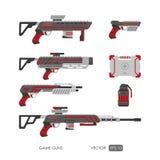 Pistole per il sistema di realtà virtuale Armi del video gioco messe Fotografia Stock Libera da Diritti