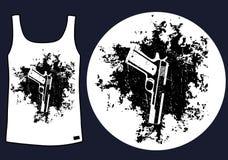 Pistole sulla progettazione della maglietta del fondo di lerciume Immagine Stock
