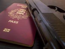 Pistole und Pass lizenzfreie stockfotos
