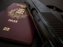 Pistole und Pass lizenzfreie stockbilder