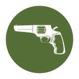 Pistolemblem för borgerligt försvar, militär utrustning stock illustrationer