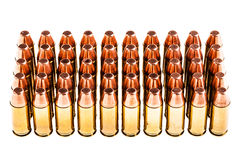 Pistolen-Kugeln auf Weiß Stockfotografie