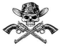 Pistolen und Sheriff-Star Badge Cowboy-Hut-Schädel lizenzfreie abbildung