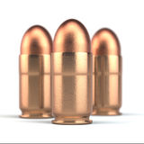 Pistolenkugeln auf weißem Hintergrund Stockfotos