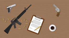 Pistoler riffle för dokument för vapenlag lagliga olagliga och ammokassett Arkivfoto