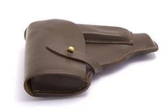 Pistolera de cuero del arma de Brown aislada en blanco. Imagen de archivo