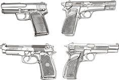 Pistoleskizzen Stockfoto