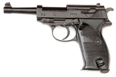 Pistolet de noir de Walther Photographie stock