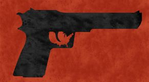 Pistolet i USA kartografujemy, profil pistolet, sylwetka Czerwony tło, plamiący z krwią Fotografia Royalty Free