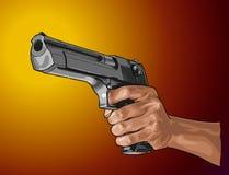 Pistolet w ręce - wręcza patroszonego wektor, odizolowywającego na kolorze fotografia royalty free