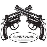 Pistolets croisés de revolver Image stock