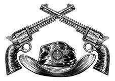 Pistolets et cowboy croisés Hat avec le shérif Star illustration libre de droits