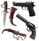 Pistolety i noże Obrazy Royalty Free