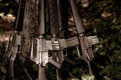 Pistolety przy drzewnym lasem po wojny fotografia royalty free