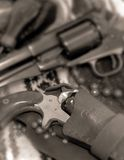 PISTOLS. Image of black powder revolvers in black and white Royalty Free Stock Photography