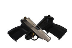 Pistols. Two pistols isolated on white, black and silver Stock Photos