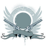 Pistols. Wings, ribbon on grunge background Royalty Free Stock Photography