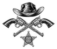 Pistols and Cowboy Hat with Sheriff Star Badge Royalty Free Stock Photos
