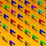 Pistols - 3d illustration pattern. Low poly pistol illustration pattern on colorful background Stock Photography