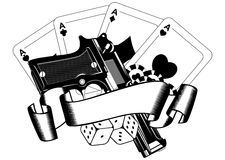 Pistols and playing cards Royalty Free Stock Images