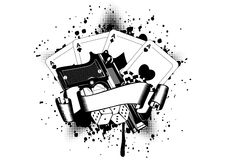 Pistols and playing cards dice chips Royalty Free Stock Image