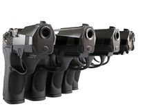Pistols in a row Stock Image