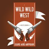 Pistols vector western gun cowboys retro revolver backdrop illustration wildlife cartoon wildwest sheriffs handgun. Background banner royalty free illustration