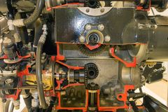 Piston aircraft engine. Detailed exposition of the old piston aircraft engine Royalty Free Stock Photography