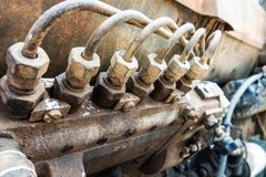 Piston de générateur électrique de moteur diesel image stock