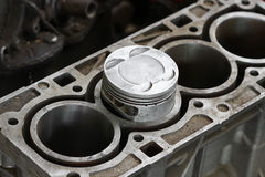 Piston of the Engine or the Machine, Piston and Rod Remove for Check and Inspect, Machine Damage from Working Operation, Garage Se Stock Photo