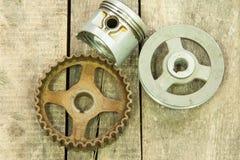 Piston, gear, pulley Stock Photo