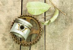 Piston, gear, pulley Stock Images