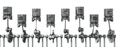 Piston line. A row of engine piston. Isolated illustration on white background Stock Image