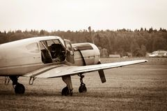 Piston training aircraft on the ground Royalty Free Stock Images