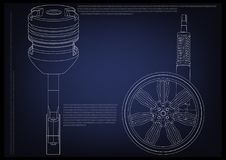Piston and wheel with shock absorber on a blue. Background. 3d model Royalty Free Stock Image