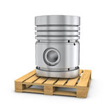 Piston on wooden pallet on white backgound Stock Image