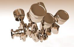 Pistones de oro y cigüeñal aislados en el fondo blanco 3d rinden libre illustration