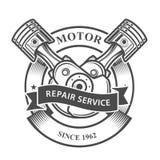 Pistones del motor en el cigüeñal - servicio de reparación auto Imagen de archivo