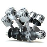 Pistones del motor V6. imagen 3D. Imagen de archivo libre de regalías