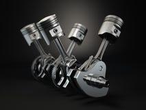 Pistonger och kugge för motor V4 på svart bakgrund royaltyfri illustrationer