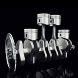 Pistonger och kugge för motor V4 på svart bakgrund för cylindermotor fyra för crankshaft 3d pistonger Motor för fyra cylinder Mot Arkivfoto
