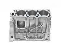 Pistoni automobilistici del motore tre della testa del motore isolati su bianco Fotografie Stock