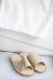 Pistoni e tovagliolo di bagno dalla vasca da bagno Fotografia Stock