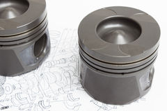 Pistons and connecting rods lie Stock Photos
