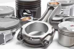 Pistons and connecting rods, main parts for an internal combustion engine Stock Images
